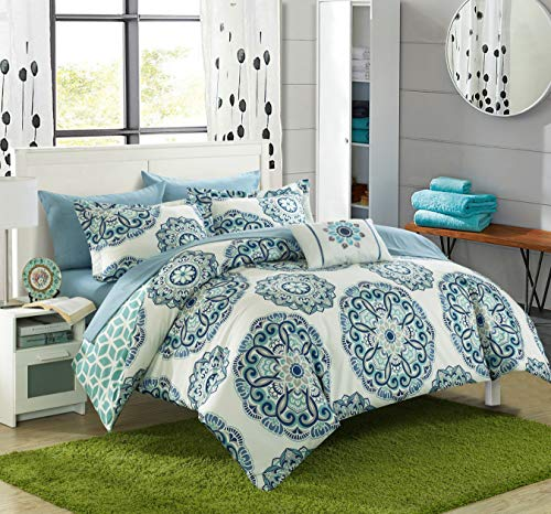 Chic Home Barcelona 8 Piece Reversible Comforter Set Microfiber Large Printed Design with Geometric Patterned Backing Bed in a Bag with Sheet Set and Decorative Pillows Shams, Full/Queen -