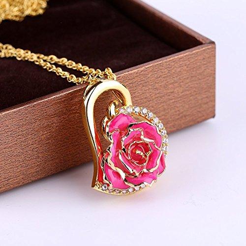 Oro Collana Fntastisches Di Ciondolo Cuore Pink1 K Con Forma E 24 Rosa Regalo A Strass Donna Per Zjchao q8Ewz6W
