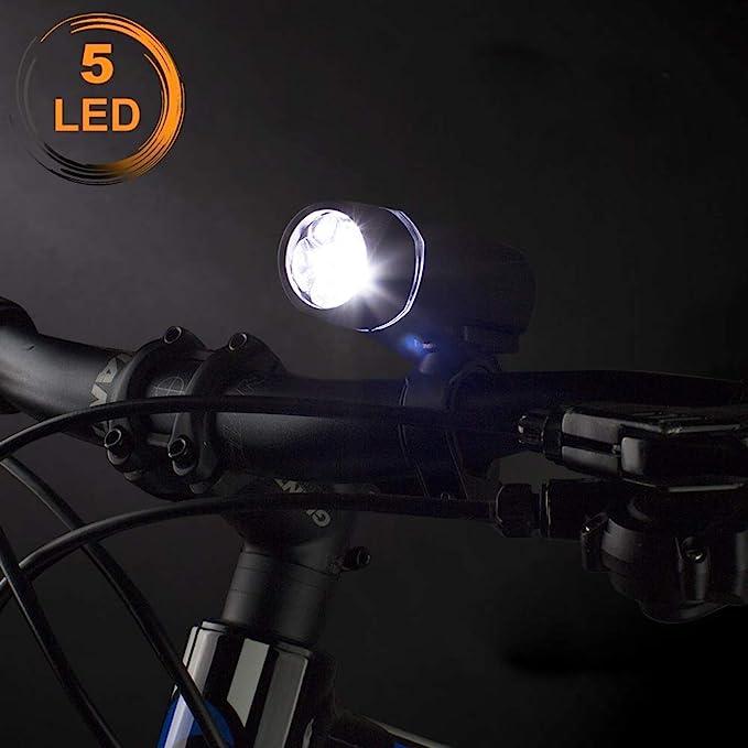 BV Bicycle Light Set Super Bright 5 LED Headlight 3 LED Taillight Handlebars for sale online