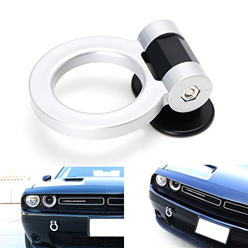 Race Track Ring - iJDMTOY (1) Universal Silver Ring Track Racing Style Tow Hook Look Decoration For Any Car SUV Truck (Not Functional, Decorative Purpose ONLY)
