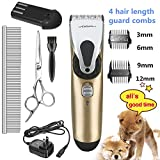 Pet Grooming Clippers - ihoven Professional Cordless Dog Grooming Clippers Kit Low Noise Rechargeable Electric Hair Trimming Clippers Set with Scissors and Guide Comb for Small Medium Large Dogs Cats