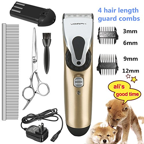 ihoven Pet Grooming Clippers, Professional Cordless Dog Grooming Clippers Kit Low Noise Rechargeable Electric Hair Trimming Clippers Set with Scissors and Guide Comb for Small Medium Large Dogs Cats