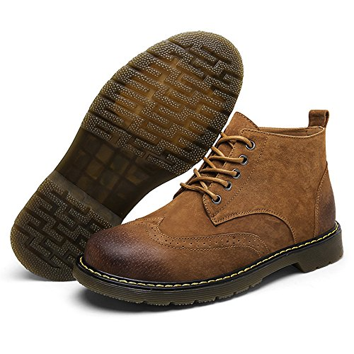 Chukka Boots Suede Men's Leather Lace SUNROLAN Fashion Casual up Shoes Boot Brown Ankle Winter qYwxvYtU6