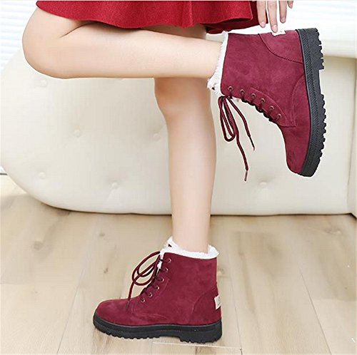 Flat Cotton Boots Velvet Waterproof Winter Suede Snow Shoes Up Womens Red Lace Sneaker Plus Womens Platform Wine 7nT0Ewnqx6