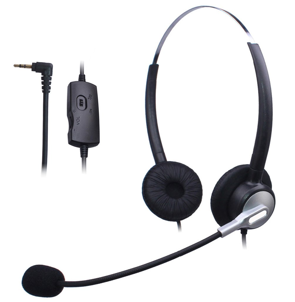 Wantek Dual Ear Call Center Telephone Headset with Mic + Volume Mute Controls for Grandstream Cisco Linksys SPA Polycom Panasonic Zultys Gigaset AT&T TL88002 with 2.5mm Headphone Jack(H120S04J25)