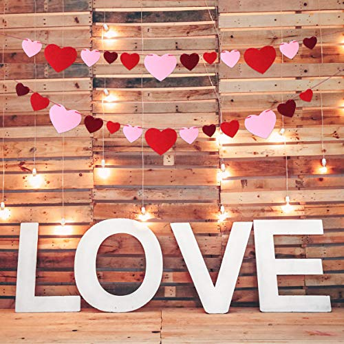 Felt Heart Banner Garland No Diy For Valentine S Day Wedding Party Classroom Decoration Amazon In Toys Games