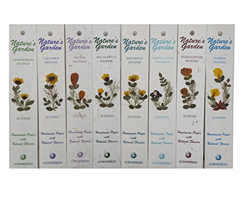 - Auroshikha Nature's Garden Combo of Incense Sticks - Lavender, Sandalwood, Lemongrass, White Lotus, Eucalyptus, Orchid, Patchouli & Jasmine 160 Sticks - Set of 8
