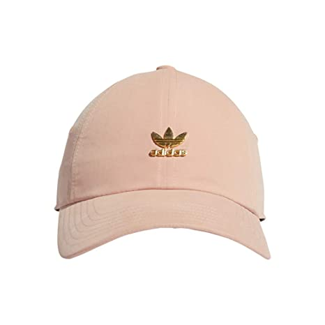 188ada4b adidas Women's Originals Relaxed Metal Logo Strapback Cap, Dust Pink/Gold,  One Size