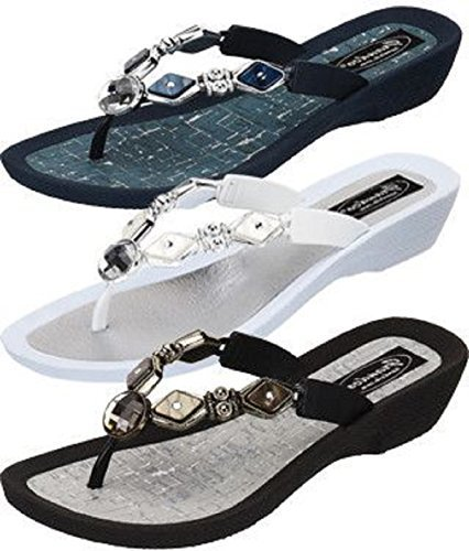 Grandco Womens Diamond Pearl Style Thong Sandal (8, Black)
