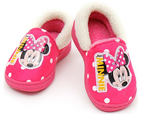 Disney Minnie Mouse Girl's Warm Fur Comfort Indoor Slipper Shoes (Parallel Import/Generic Product) (8 M US - International How Usps Long