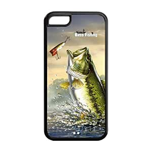 New Personalized Fishing Bass Iphone 5 5s Plastic And TPU Silicone Back Wearproof & Sleek Case Cover