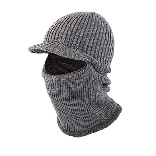 297b83b100bf52 Winter Hat Beanie Cap Balaclava Face Mask Men's Women's Knit Wool Warm Neck  Scarf Set Windproof Motorcycle Grey