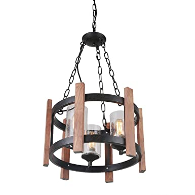 Eumyviv Orb Wood Chandelier Light with Seeded Glass Shade, Vintage French Country Chandelier Metal Pendant Lamp Industrial Edison Hanging Light 3 Lights, Black C0055