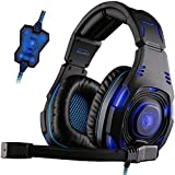 SADES SA907 7.1 USB Wired Surround Sound Over-ear Stereo WCG Gaming Headset with Hifi Microphone Multi-function Control Remote Leather earmuffs Cool Blue LED Lighting(black)