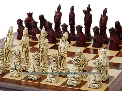 Berkeley Chess Mandarin Ornamental Chess Set (Cream and Red, Board Not Included)