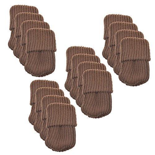 (BCP 16pcs Knitting Wool Furniture Socks/ Chair Leg Floor Protector (Brown Color))