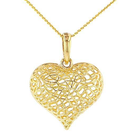 Textured 14K Yellow Gold Puffed Filigree Heart Charm Pendant Necklace, 18
