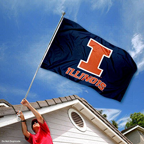Illinois Fighting Illini Blue Double Sided Flag College Flags and Banners Co