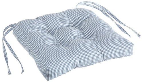 Ellis Curtain Logan Gingham Check Print Cushioned Chair Pad, Blue