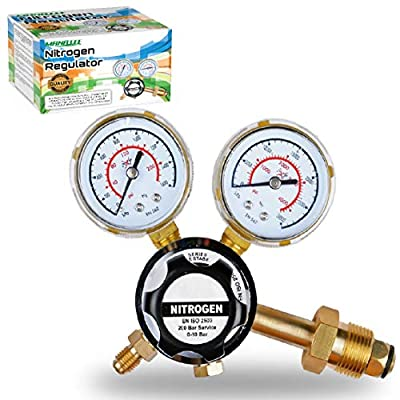MANATEE Nitrogen Regulator 3000 PSI - CGA580 Inlet Connection and 1/4-Inch Male Flare Outlet Connection Adjustable Gas Regulator HVAC Durable Brass Accurate and Dependable