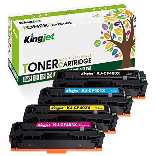Kingjet Compatible Toner Cartridge Replacement for 201X CF400X 201A CF400A, Use with Color Laserjet Pro MFP M277dw M252dw M277c6 M277n M252n Printer (Black Cyan Magenta Yellow, 4-Pack, High Yield) ()