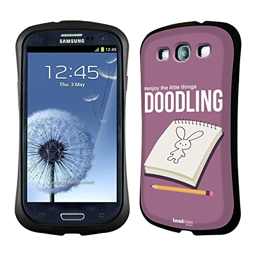 Head Case Designs Doodling Enjoy The Little Things Hybrid Gel Back Case for Samsung Galaxy S3 III I9300