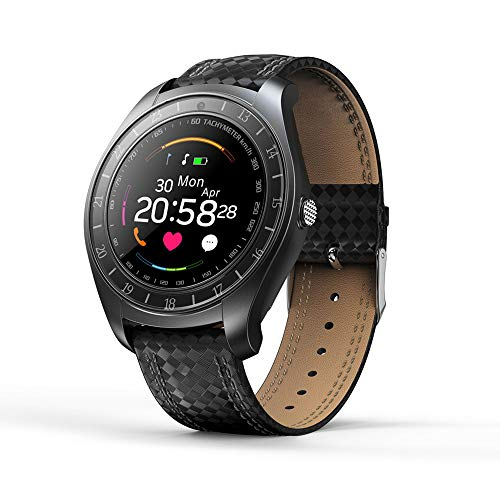 Fitness Traker,MeiLiio Heart Rate Telephone Watches with SOS Camera Support Dial Call GSM,Pedometer,Sleep Monitor,Calorie Counter Bluetooth Wristband Birthday Holiday Gift for Kids Women Men,Black ()