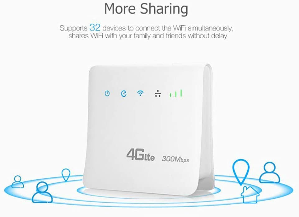 QYCL Unlocked 300Mbps WiFi Routers 4G LTE Cpe Mobile Router with LAN Port Support SIM Card Portable Wireless Router WiFi 4G Router