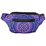 Acid Party Fanny Pack, Stylish Party Boho Chic Handmade with Hidden Pocket (Blue Mandala)