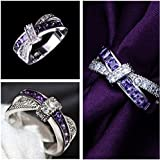 Sumanee Fashion Womens Jewelry Purple Sapphire Wedding Ring Silver Plated Size 6 8 10 (6)