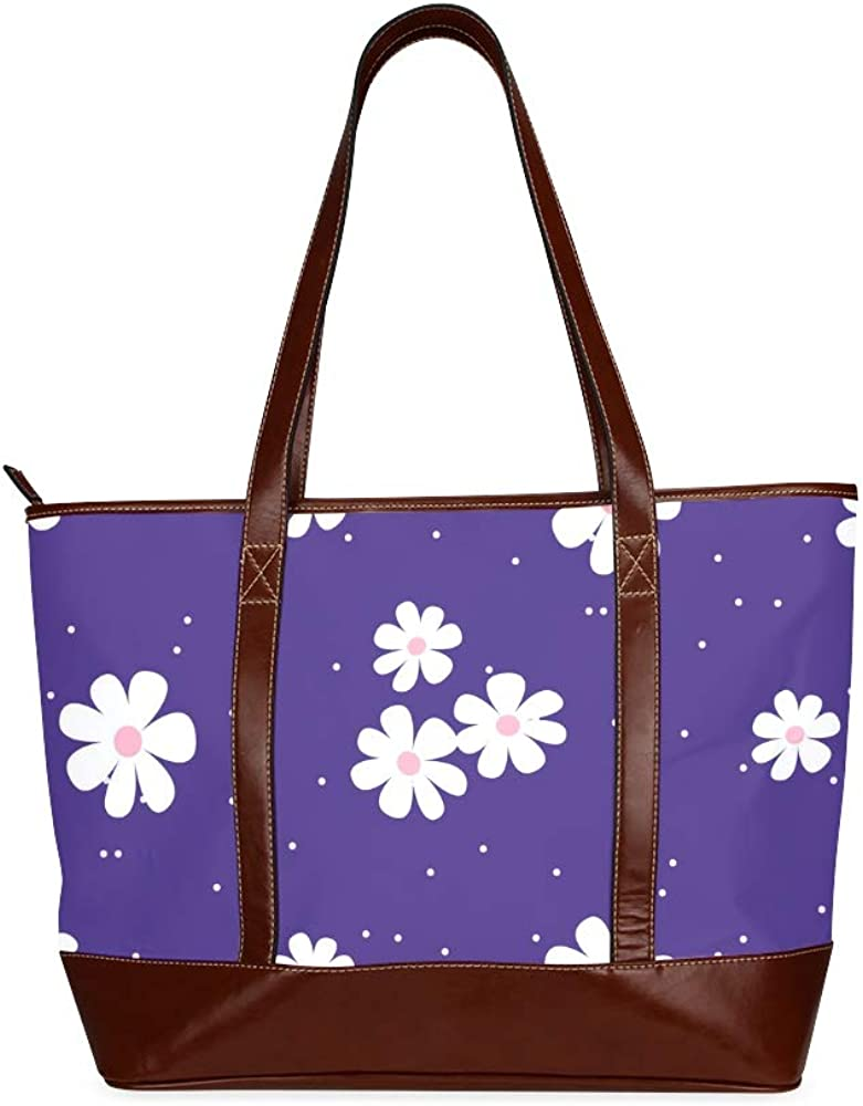 Tote Bags White Daisy On Blue Background Seamless Pattern Vector Travel Totes Bag Fashion Handbags Shopping Zippered Tote For Women Waterproof Hand