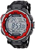 Armitron Men's 40/8301RED Sport Red and Silver-Tone Accented Black Resin Strap Chronograph Digital Sport Watch, Watch Central