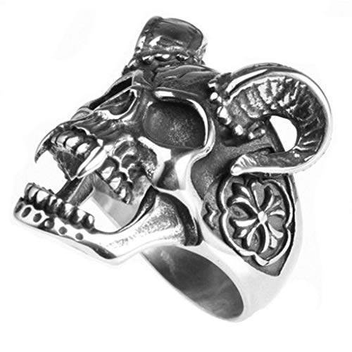 AMDXD Jewelry Stainless Steel Ring for Women Punk Rock Skull Goat Ring Men Gothic Rings Size 9