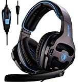 Sades SA810 New Version Xbox One Gaming Headset with Microphone and PC Adapter Over Ear Stereo Headphones for PS4/PlayStation 4 Laptop Mac Computer,Black/blue(Black&Blue)