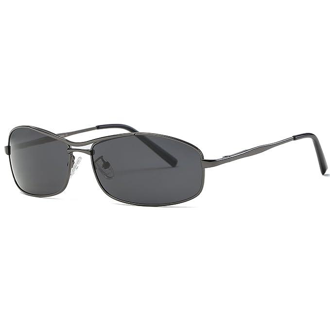 2906adf38a kimorn Polarizado Gafas de sol Hombre Retro Ultra-ligero Rectangulares  metal Marco K0559 (Gris&Negro