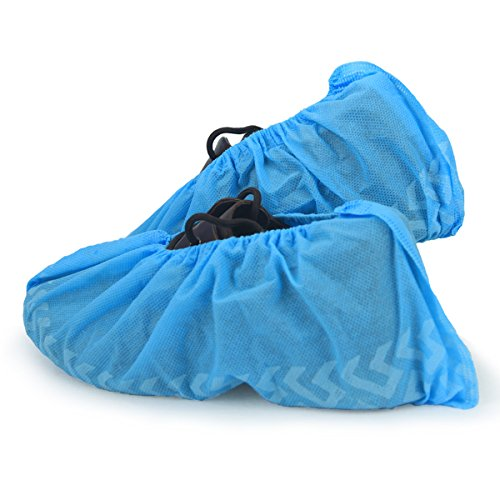 Cleaing Heavy Duty Non Slip Machine-made Disposable Shoe Covers with Tread Pattern and Strip on Sole 100 Piece
