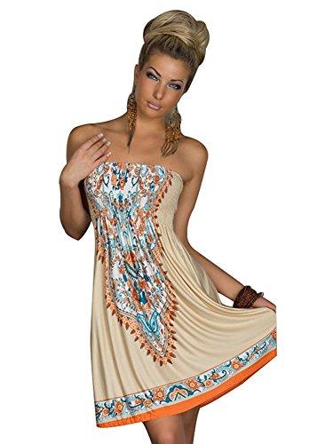 MoYoTo Women's Fashion Beach Wear Tube Top Summer Bikini Swimsuit Cover Up Dress (Khaki) (Short Tube Dress)