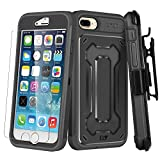 iPhone 7 Plus Case, E LV iPhone 7 Plus - Belt Swivel Clip / Kickstand - Dual Layer Armor Holster Defender Full Body Protective Case Cover for Apple iPhone 7 Plus - [BLACK/BLACK] (Wireless Phone Accessory)