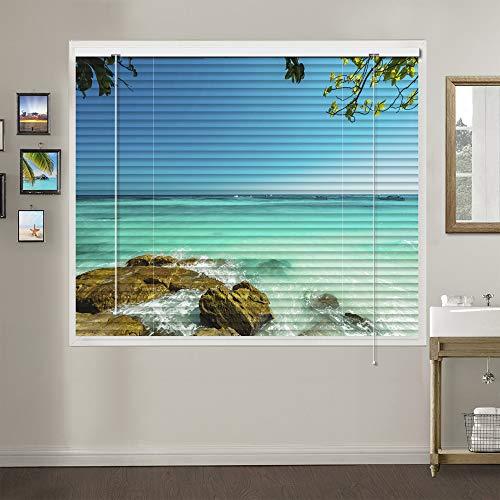 Patterned Aluminium Mini Window Blinds, Premium 1-inch Light Filtering Horizontal Custom Blinds, 48″ W x 48″ L