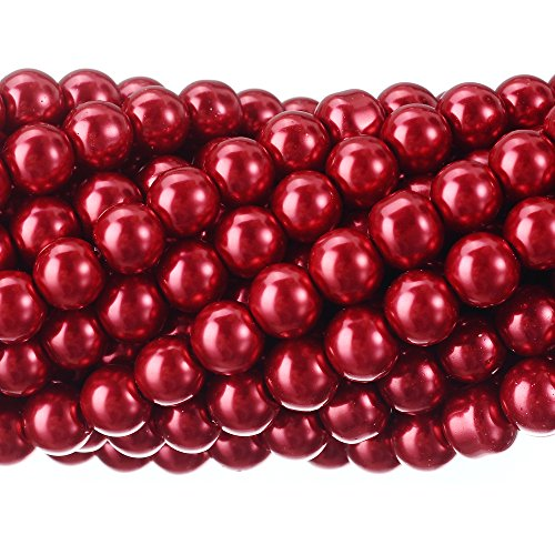 RUBYCA 200Pcs Czech Tiny Satin Luster Glass Pearl Round Beads DIY Jewelry Making 8mm Bordeaux Red