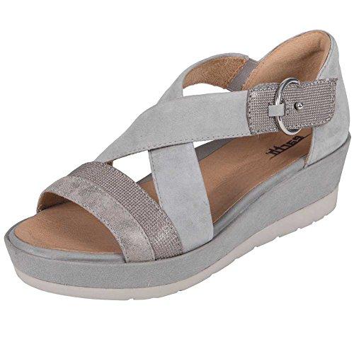 Earth Womens Hibiscus Light Grey Metallic Suede Sandal - 10 (Metallic Suede Footwear)