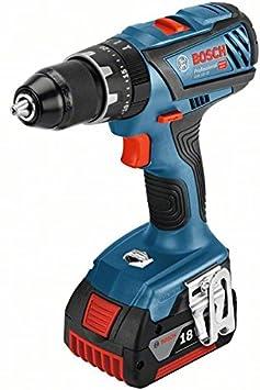 18 V Valigetta L-BOXX 2 Batterie da 5.0 Ah Bosch Professional Trapano Avvitatore con Percussione a Batteria GSB 18V-28 Coppia di Serraggio 63 Nm