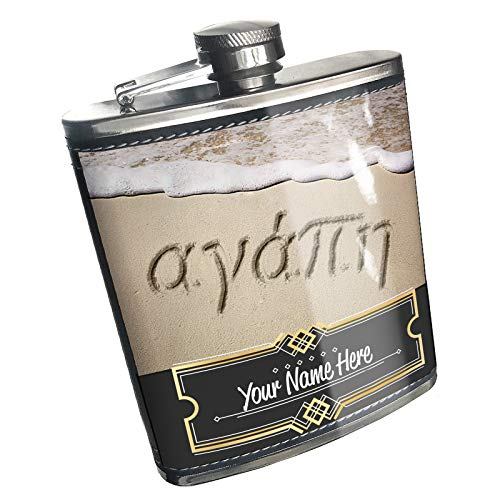 Neonblond Flask Love in Greek language written on beach Custom Name Stainless Steel