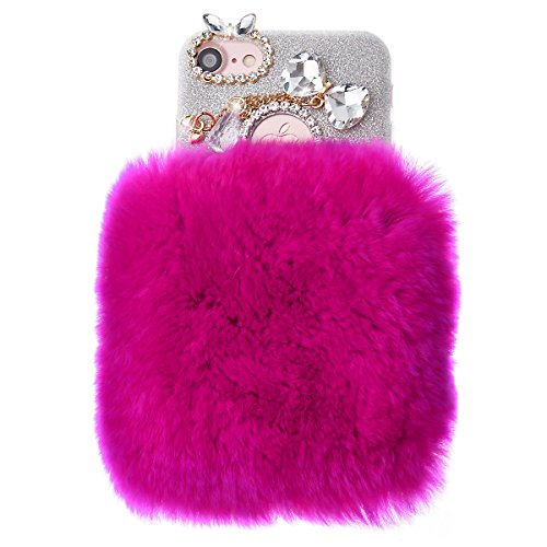 We Love Case Felpa Carcasa para Apple iPhone 7 Plus Funda Gris Peluche Diseño Nuevo Caliente Mullido Villi Piel Funda Bling Strass Case Glitter Diamante Funda Cáscara Dura PC Bumper Case Cover Resiste Felpa 14