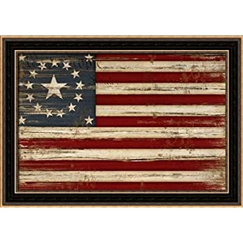 Amazon Com The Rusty Roof American Flag Framed Art