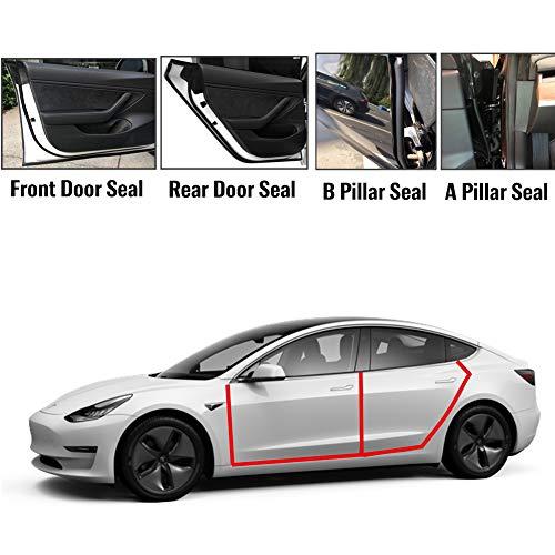 Tesla Model 3 Door Seal Kit, Car Door Seal Rubber Strip Wind Noise Reduction Kit, Door Draft Rubber Weather Strip Sound Proof Door Strip, Tesla Model 3 -