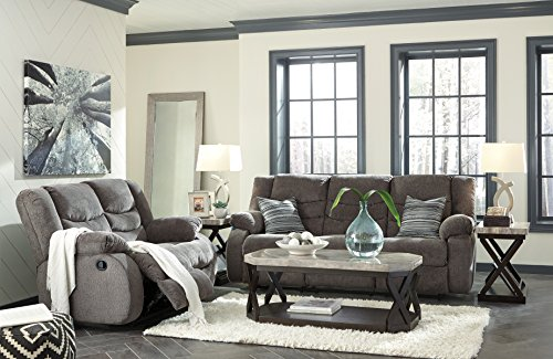 Tulen Contemporary Gray Color Chenille Fabric Reclining Sofa And Loveseat