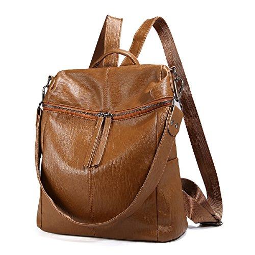 JOSEKO Fashion Backpack, Women Purse Soft PU Leather Ladies Rucksack Shoulder Bag Handbag Brown 11.8''x 11.02''x 5.9''(LxWxH) by JOSEKO