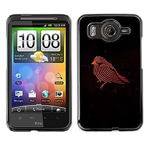 Shell-Star Art & Design plastique dur Coque de protection rigide pour Cas Case pour HTC Desire HD / G10 / inspire 4G( Firebird Red Robin Black Minimalist )