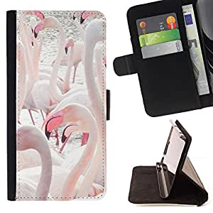 Pink Flamingos Lake Water Birds Beak - Painting Art Smile Face Style Design PU Leather Flip Stand Case Cover FOR Sony Xperia Z2 D6502 @ The Smurfs